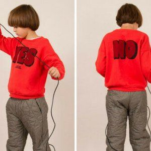 Bobo Choses Yes No Round Neck Sweatshirt in Red